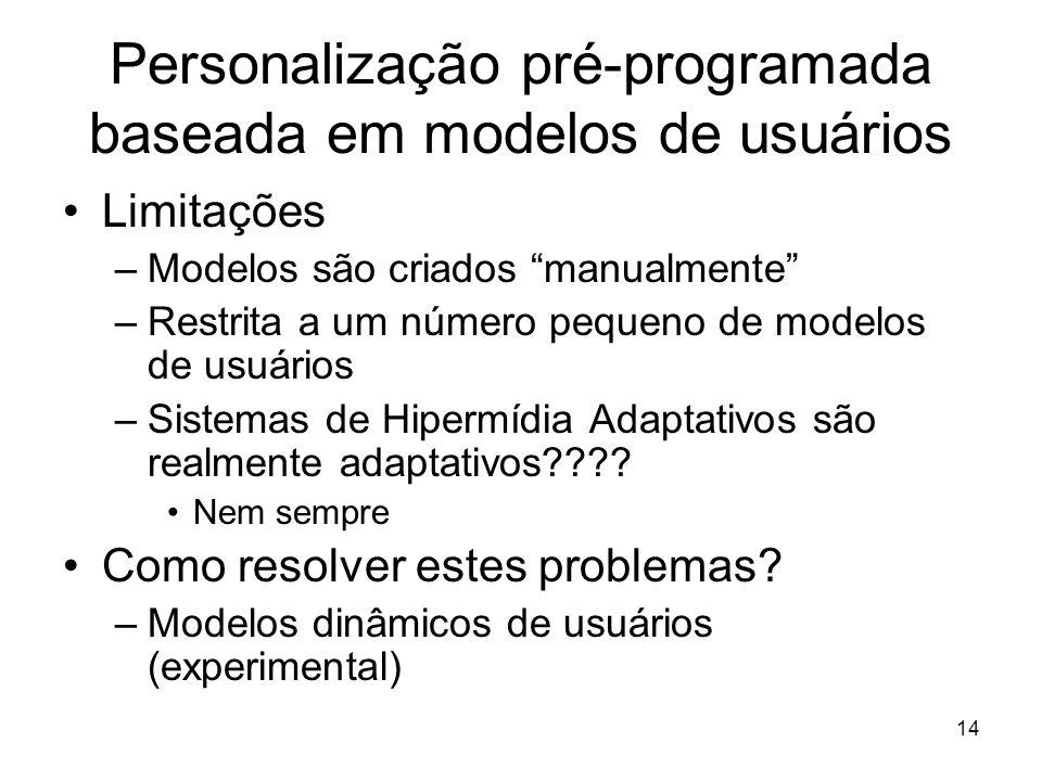 """14 Personalização pré-programada baseada em modelos de usuários Limitações –Modelos são criados """"manualmente"""" –Restrita a um número pequeno de modelos"""