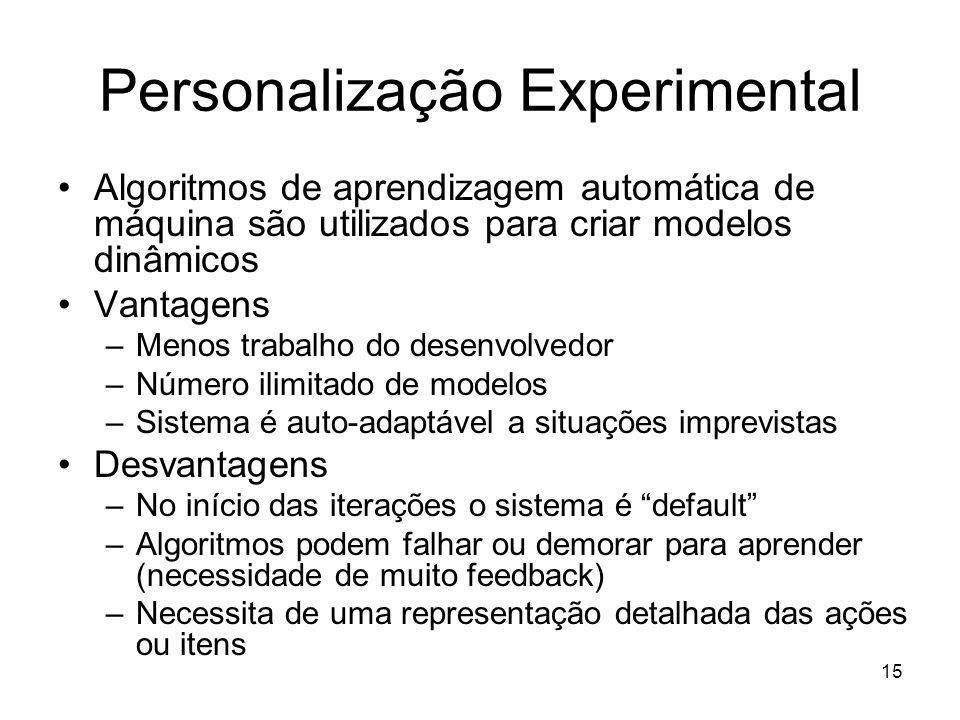 15 Personalização Experimental Algoritmos de aprendizagem automática de máquina são utilizados para criar modelos dinâmicos Vantagens –Menos trabalho