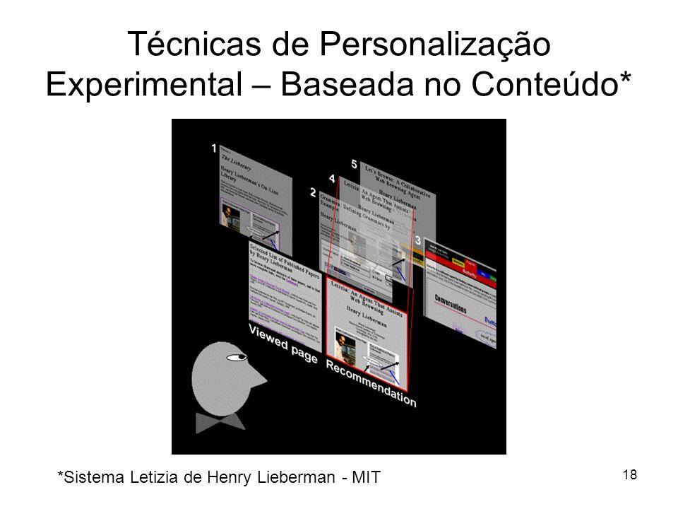 18 Técnicas de Personalização Experimental – Baseada no Conteúdo* *Sistema Letizia de Henry Lieberman - MIT