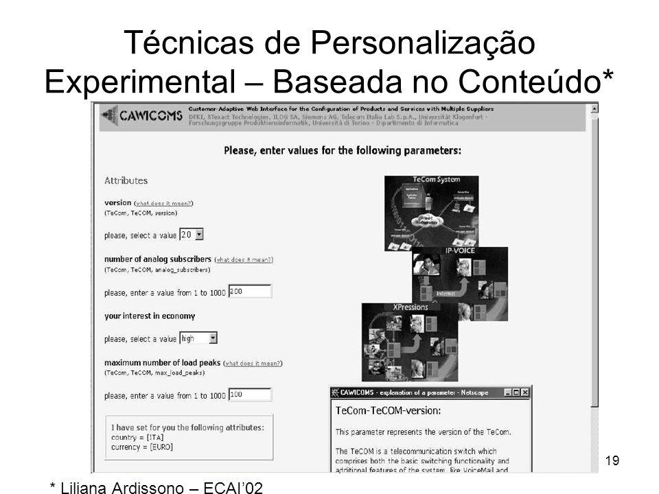 19 Técnicas de Personalização Experimental – Baseada no Conteúdo* * Liliana Ardissono – ECAI'02