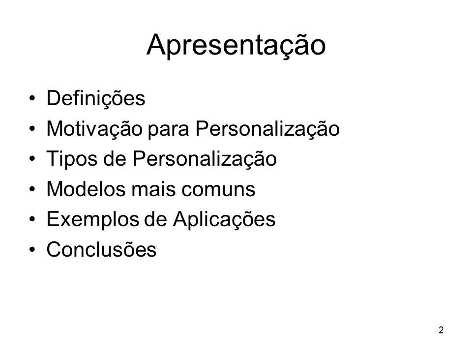 2 Apresentação Definições Motivação para Personalização Tipos de Personalização Modelos mais comuns Exemplos de Aplicações Conclusões