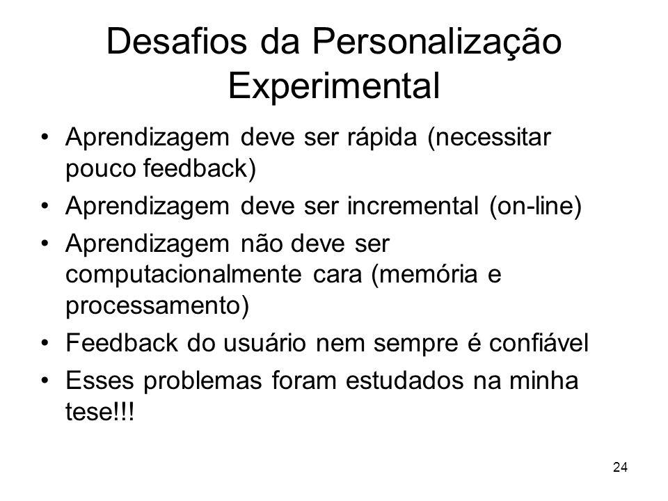 24 Desafios da Personalização Experimental Aprendizagem deve ser rápida (necessitar pouco feedback) Aprendizagem deve ser incremental (on-line) Aprend
