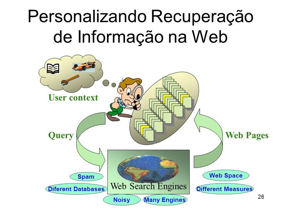 26 Personalizando Recuperação de Informação na Web Query Web Search Engines Web Pages Spam Web Space Diferent Databases Different Measures NoisyMany E