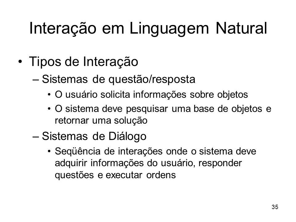 35 Interação em Linguagem Natural Tipos de Interação –Sistemas de questão/resposta O usuário solicita informações sobre objetos O sistema deve pesquis