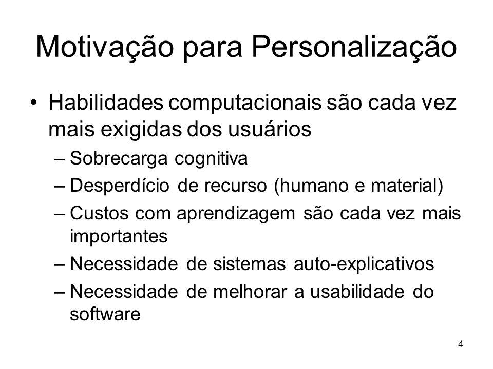 4 Motivação para Personalização Habilidades computacionais são cada vez mais exigidas dos usuários –Sobrecarga cognitiva –Desperdício de recurso (huma
