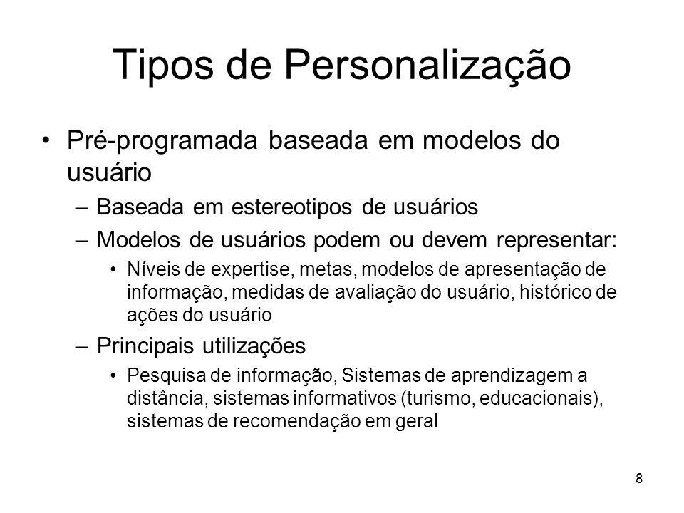 8 Tipos de Personalização Pré-programada baseada em modelos do usuário –Baseada em estereotipos de usuários –Modelos de usuários podem ou devem repres