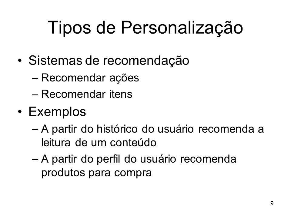 9 Tipos de Personalização Sistemas de recomendação –Recomendar ações –Recomendar itens Exemplos –A partir do histórico do usuário recomenda a leitura