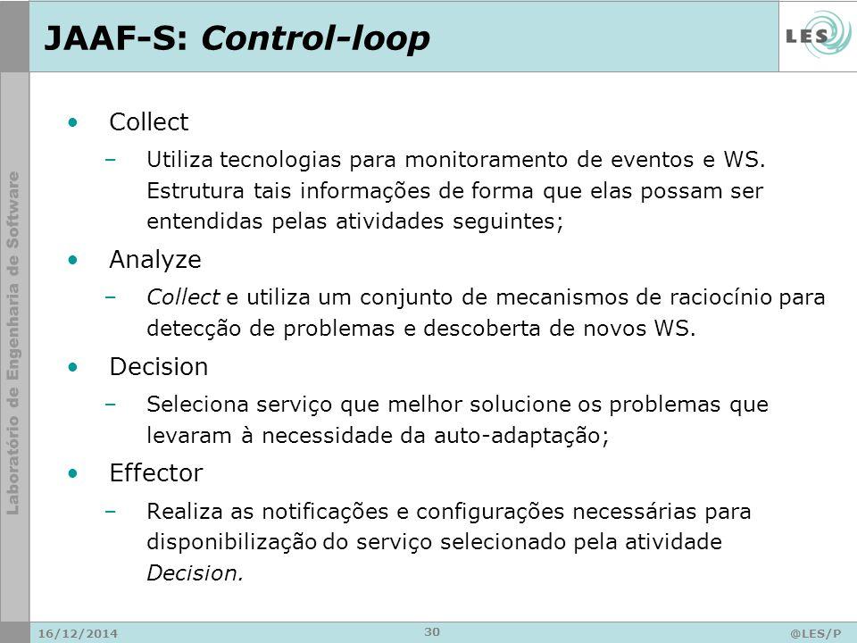 JAAF-S: Control-loop 16/12/2014@LES/P UC-Rio 30 Collect –Utiliza tecnologias para monitoramento de eventos e WS.