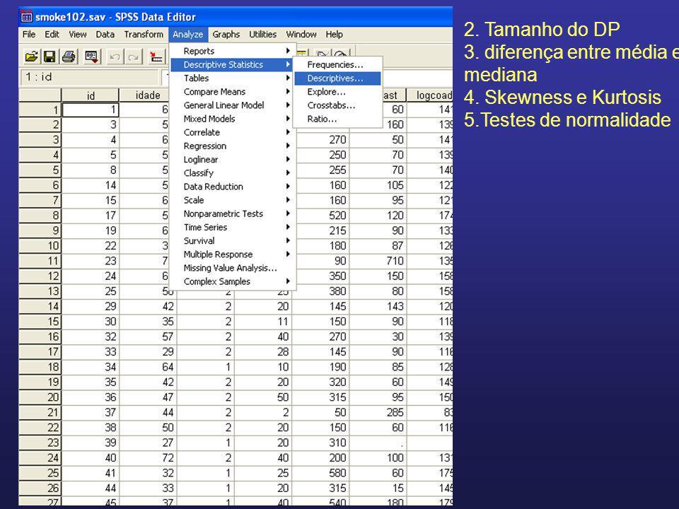 2. Tamanho do DP 3. diferença entre média e mediana 4. Skewness e Kurtosis 5.Testes de normalidade