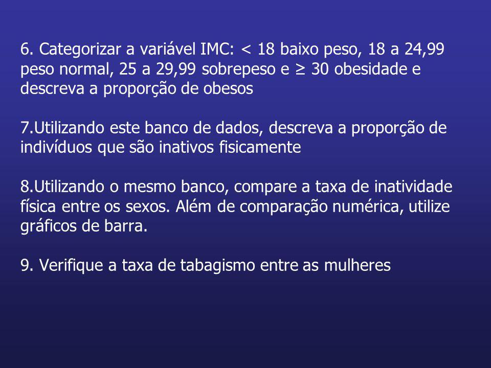 6. Categorizar a variável IMC: < 18 baixo peso, 18 a 24,99 peso normal, 25 a 29,99 sobrepeso e ≥ 30 obesidade e descreva a proporção de obesos 7.Utili