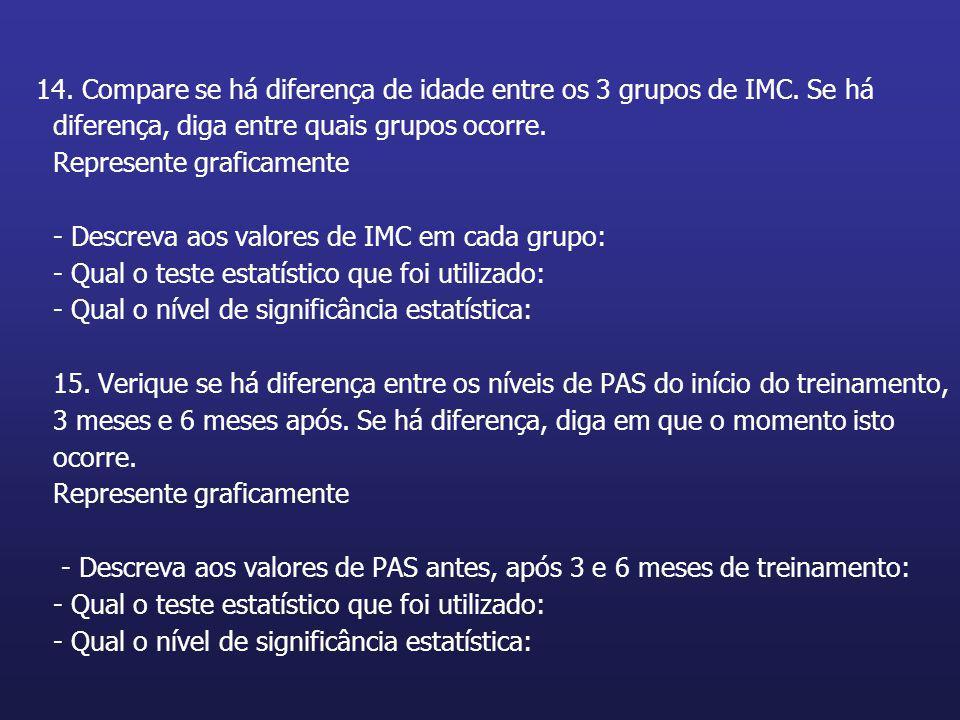 14. Compare se há diferença de idade entre os 3 grupos de IMC. Se há diferença, diga entre quais grupos ocorre. Represente graficamente - Descreva aos