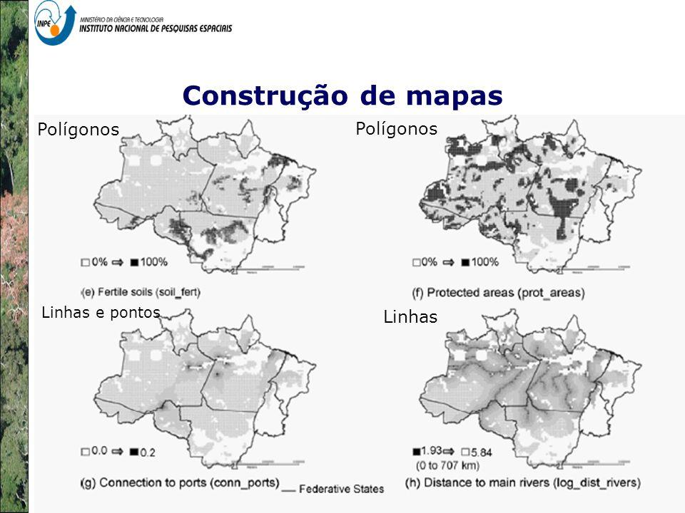 Representação com Espaço Celular em SIG - Aplicação com Dado de Uso e Cobertura da Terra Construção de mapas Polígonos Linhas e pontos Linhas