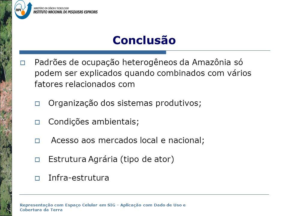 Representação com Espaço Celular em SIG - Aplicação com Dado de Uso e Cobertura da Terra Conclusão  Padrões de ocupação heterogêneos da Amazônia só p