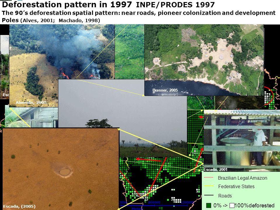 Representação com Espaço Celular em SIG - Aplicação com Dado de Uso e Cobertura da Terra 0% ->100%deforested Brazilian Legal Amazon Federative States