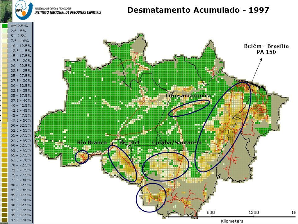 Representação com Espaço Celular em SIG - Aplicação com Dado de Uso e Cobertura da Terra Desmatamento Acumulado - 1997 Belém - Brasília PA 150 Transam