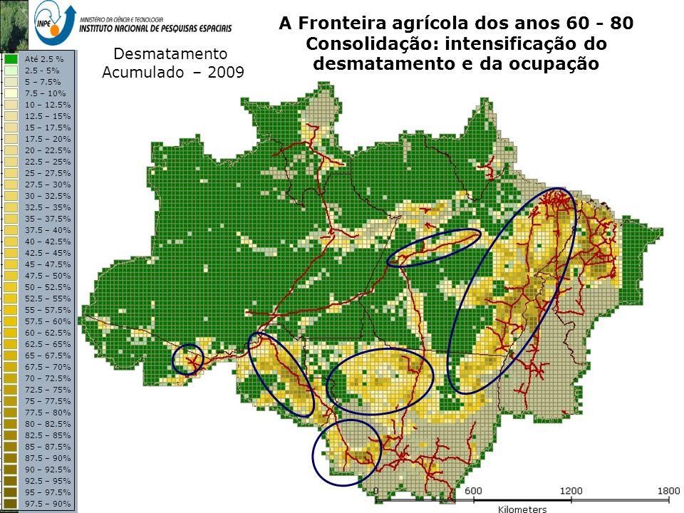 Representação com Espaço Celular em SIG - Aplicação com Dado de Uso e Cobertura da Terra A Fronteira agrícola dos anos 60 - 80 Consolidação: intensifi
