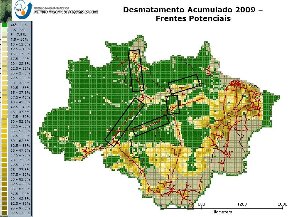 Representação com Espaço Celular em SIG - Aplicação com Dado de Uso e Cobertura da Terra Desmatamento Acumulado 2009 – Frentes Potenciais Até 2.5 % 2.