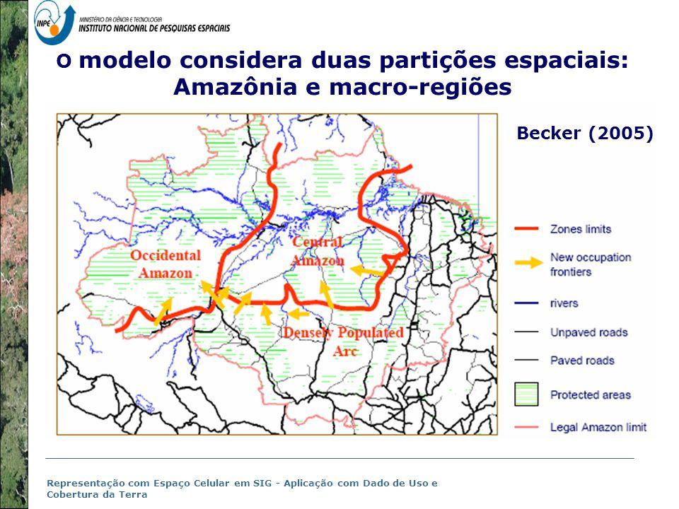 Representação com Espaço Celular em SIG - Aplicação com Dado de Uso e Cobertura da Terra (Becker, 2004;2005) Amazonian new frontiers context (Becker, 2004;2005)  Diferent contexto em relação ao passado:  Connectividade and accessibilidade  Estradas privadas e endógenas (Imazon, 2004; Castro, 2002; Geoma, 2004, 2005);  Padrões de migração e crescimento urbano;  Pressão local, regional e internacional;  Diferentes padrões espaço-temporais (velocity, rhythm, start point, spatial configuration)INPE