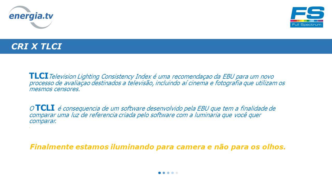 CRI X TLCI TLCI Television Lighting Consistency Index é uma recomendaçao da EBU para um novo processo de avaliaçao destinados a televisão, incluindo aí cinema e fotografia que utilizam os mesmos censores.