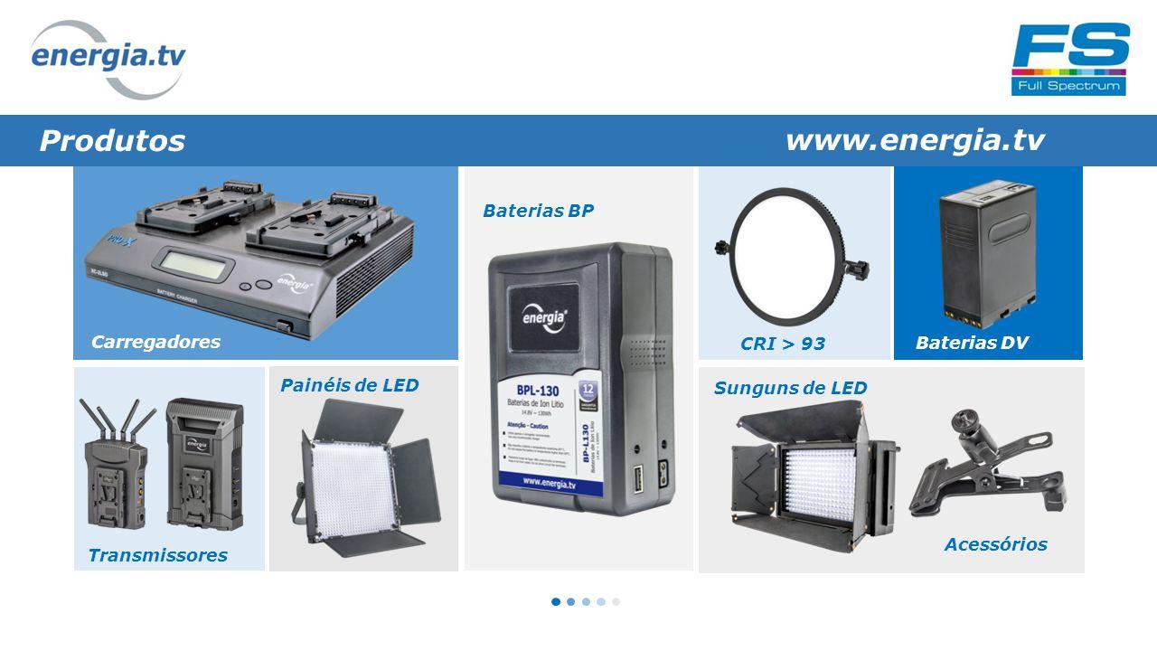 Produtos www.energia.tv Carregadores Painéis de LED Baterias BP Transmissores Sunguns de LED Acessórios Baterias DV CRI > 93