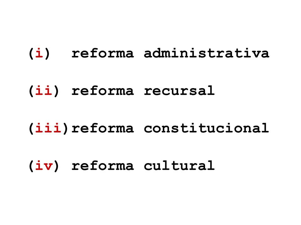 (i) reforma administrativa (ii) reforma recursal (iii)reforma constitucional (iv) reforma cultural