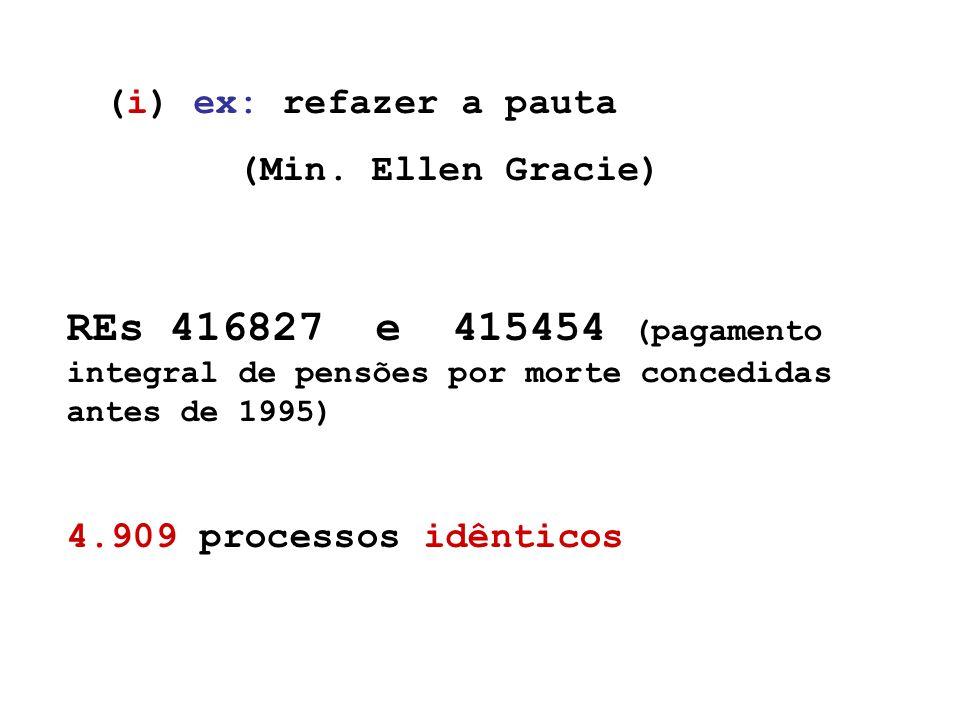 REs 416827 e 415454 (pagamento integral de pensões por morte concedidas antes de 1995) 4.909 processos idênticos (i) ex: refazer a pauta (Min.