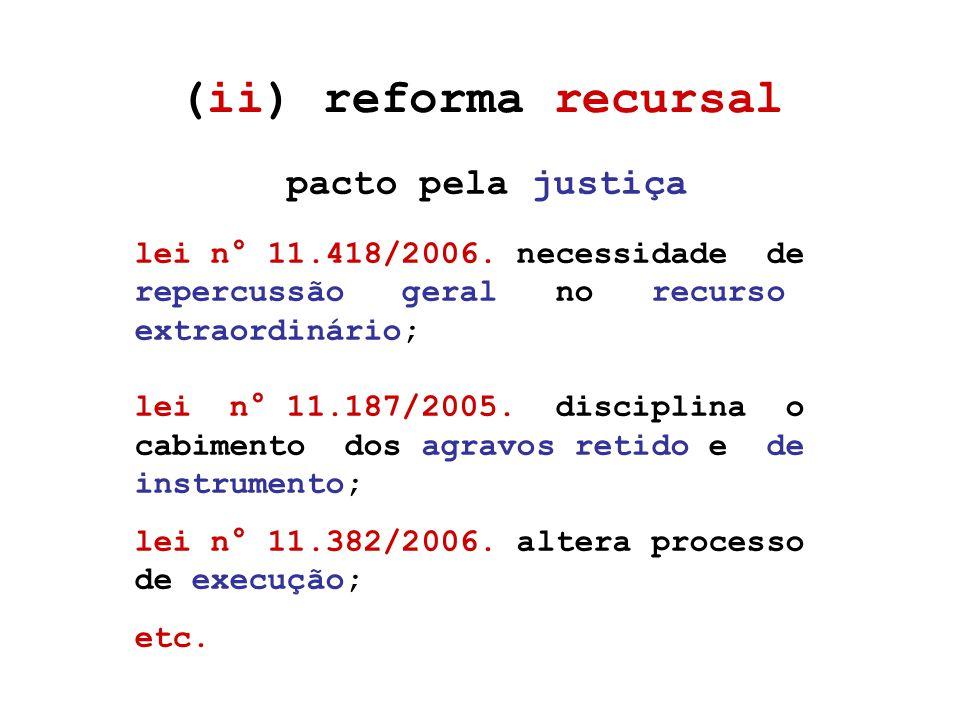 (ii) reforma recursal pacto pela justiça lei n° 11.418/2006.