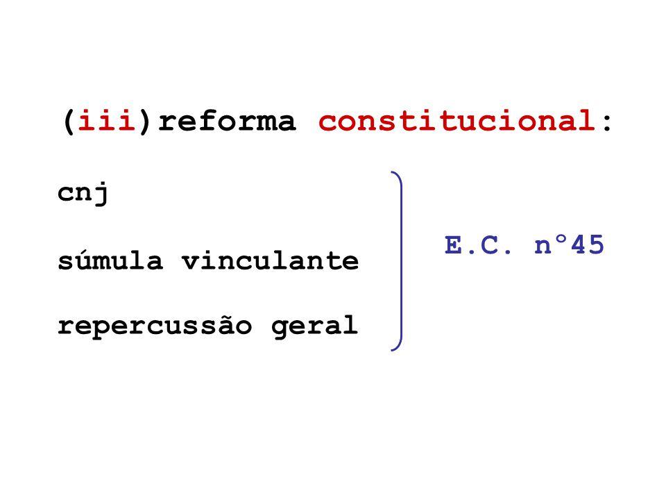 (iii)reforma constitucional: cnj súmula vinculante repercussão geral E.C. nº45