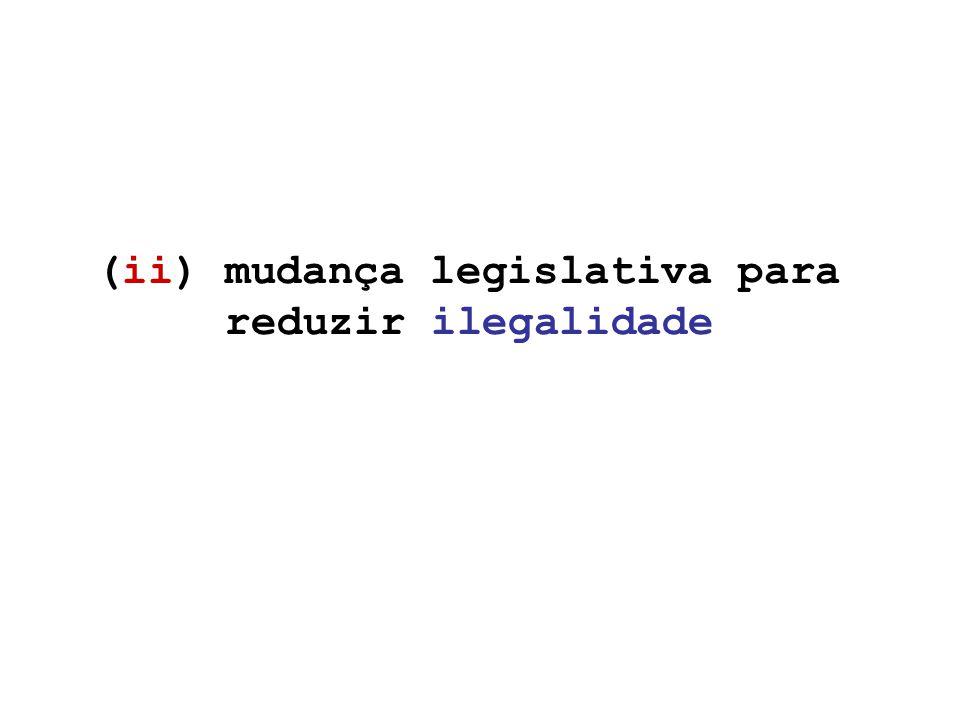 (ii) mudança legislativa para reduzir ilegalidade