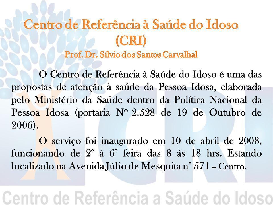 O Centro de Referência à Saúde do Idoso é uma das propostas de atenção à saúde da Pessoa Idosa, elaborada pelo Ministério da Saúde dentro da Política