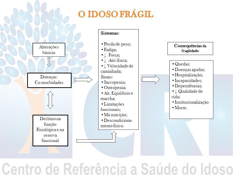 Alterações básicas Doenças/ Co-morbidades Declínio na função Fisiológica e na reserva funcional Sintomas: Perda de peso; Fadiga; ↓ Força; ↓ Ativ.físic