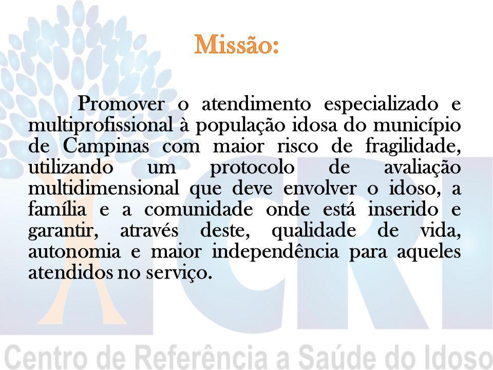 Promover o atendimento especializado e multiprofissional à população idosa do município de Campinas com maior risco de fragilidade, utilizando um prot