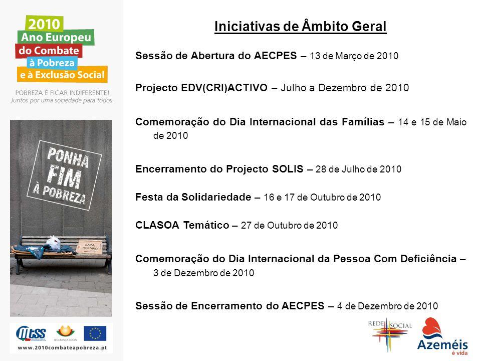 Iniciativas de Âmbito Geral Sessão de Abertura do AECPES – 13 de Março de 2010 Projecto EDV(CRI)ACTIVO – Julho a Dezembro de 2010 Comemoração do Dia I