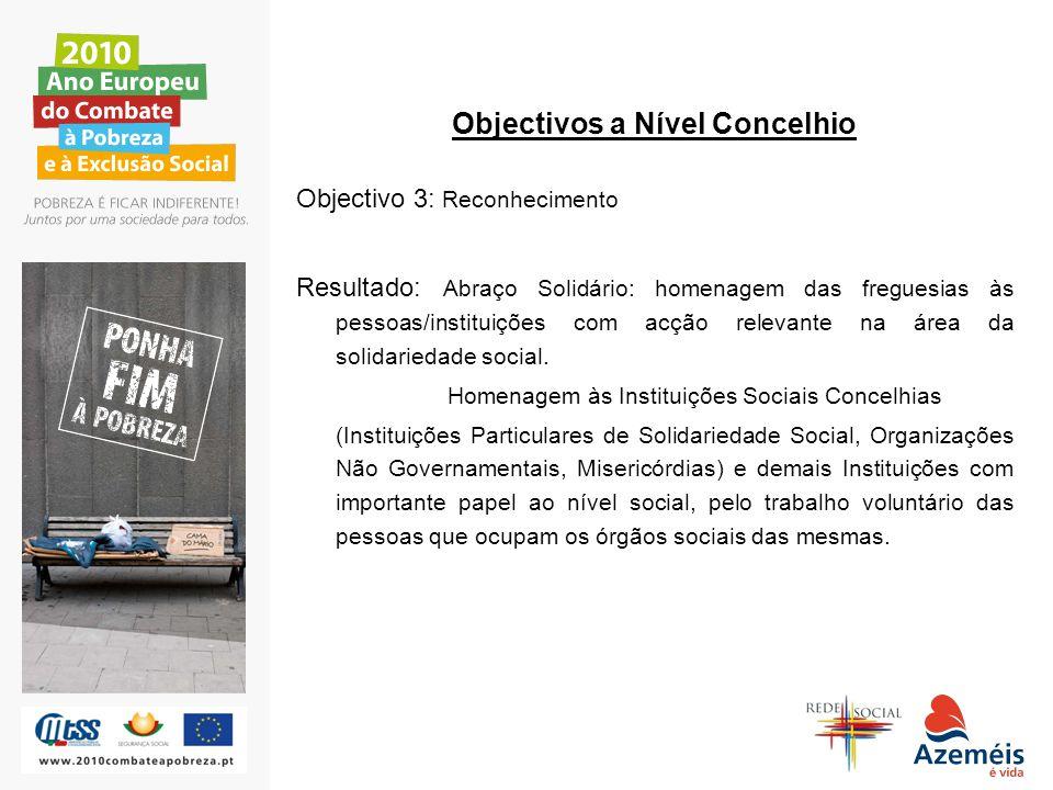 Objectivos a Nível Concelhio Objectivo 3: Reconhecimento Resultado: Abraço Solidário: homenagem das freguesias às pessoas/instituições com acção relev