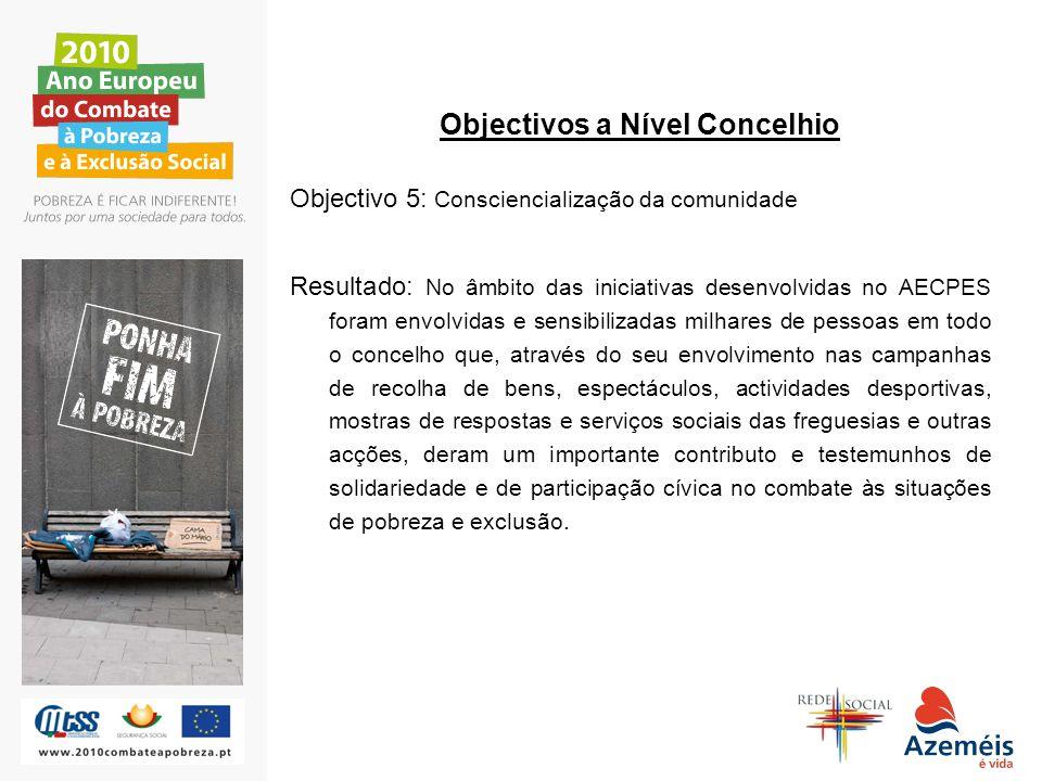 Objectivos a Nível Concelhio Objectivo 5: Consciencialização da comunidade Resultado: No âmbito das iniciativas desenvolvidas no AECPES foram envolvid