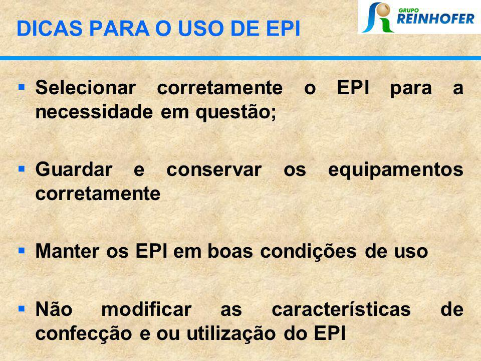 CLASSIFICAÇÃO DOS EPI A - Proteção para a cabeça; B - Proteção dos olhos e face; C - Proteção auditiva; D - Proteção respiratória; E - Proteção para o
