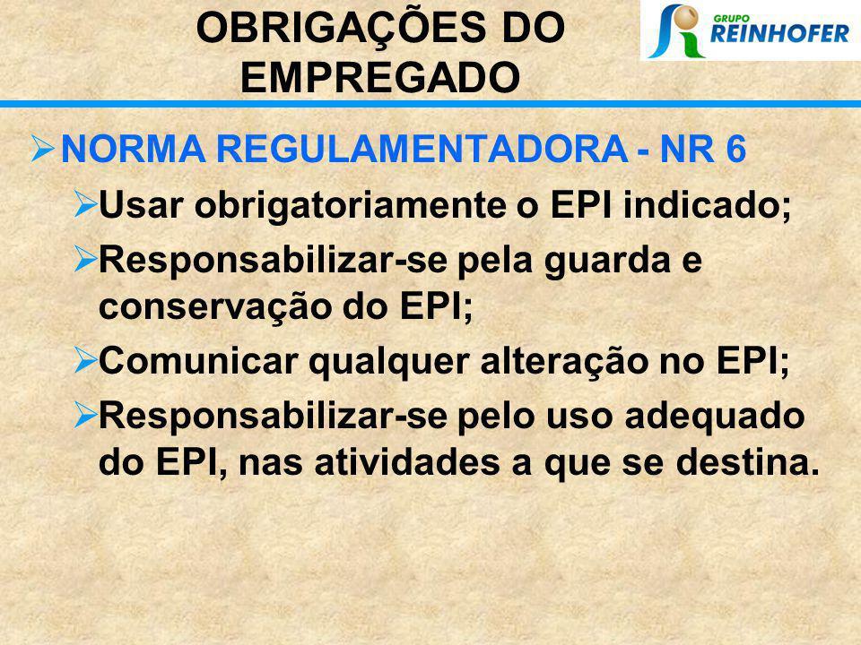 OBRIGAÇÕES DO EMPREGADOR  NORMA REGULAMENTADORA - NR 6  Fornecer o tipo apropriado à atividade do empregado  Fornece-lo gratuitamente ao seu empreg