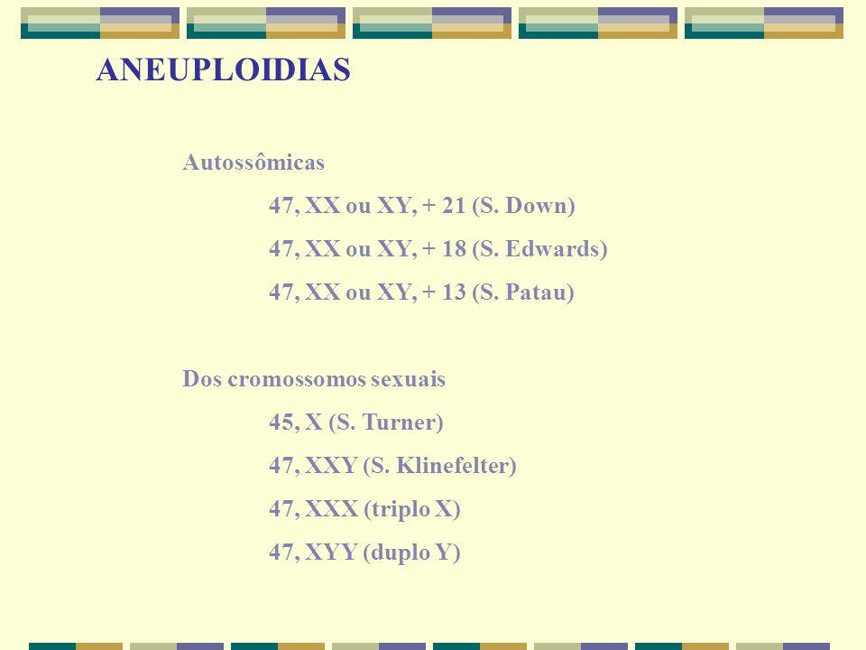 ANEUPLOIDIAS Autossômicas 47, XX ou XY, + 21 (S. Down) 47, XX ou XY, + 18 (S. Edwards) 47, XX ou XY, + 13 (S. Patau) Dos cromossomos sexuais 45, X (S.
