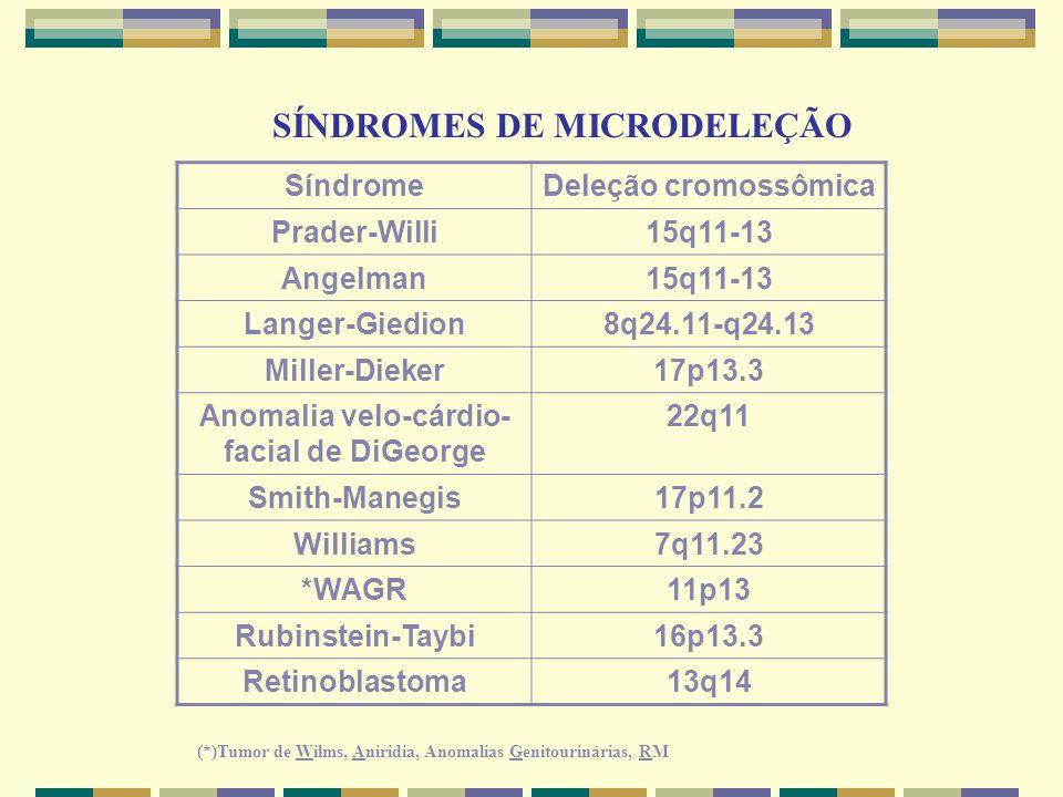 SÍNDROMES DE MICRODELEÇÃO SíndromeDeleção cromossômica Prader-Willi15q11-13 Angelman15q11-13 Langer-Giedion8q24.11-q24.13 Miller-Dieker17p13.3 Anomali