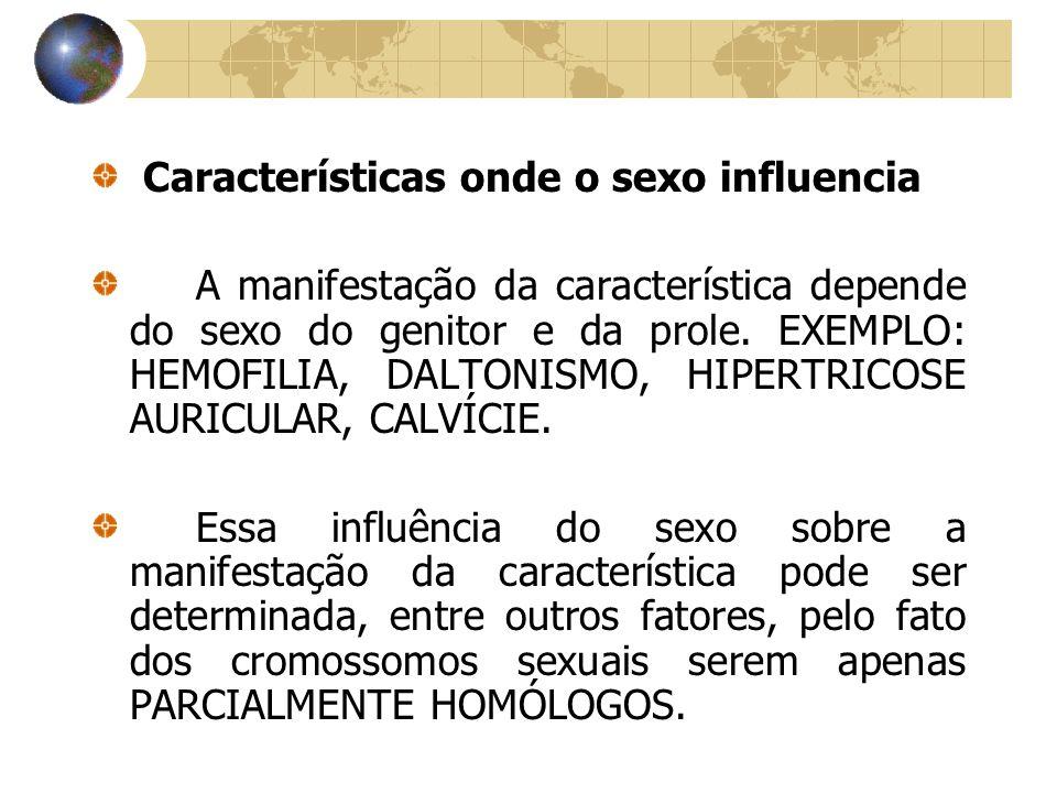 Características onde o sexo influencia A manifestação da característica depende do sexo do genitor e da prole. EXEMPLO: HEMOFILIA, DALTONISMO, HIPERTR