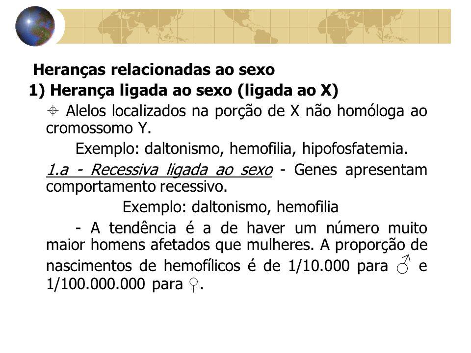 Heranças relacionadas ao sexo 1) Herança ligada ao sexo (ligada ao X) ± Alelos localizados na porção de X não homóloga ao cromossomo Y. Exemplo: dalto