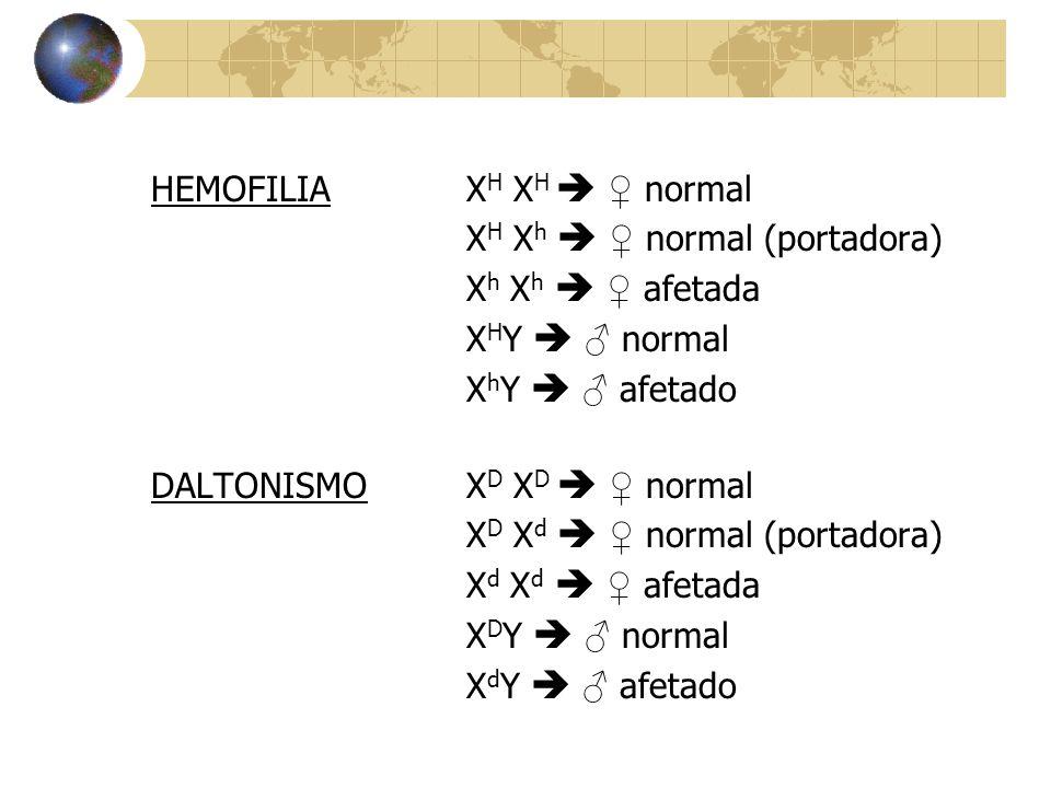 HEMOFILIA X H X H  ♀ normal X H X h  ♀ normal (portadora) X h X h  ♀ afetada X H Y  ♂ normal X h Y  ♂ afetado DALTONISMO X D X D  ♀ normal X D X