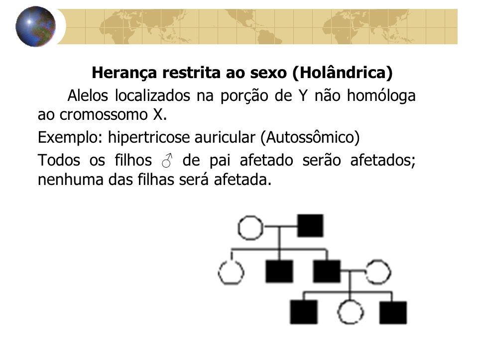 Herança restrita ao sexo (Holândrica) Alelos localizados na porção de Y não homóloga ao cromossomo X. Exemplo: hipertricose auricular (Autossômico) To