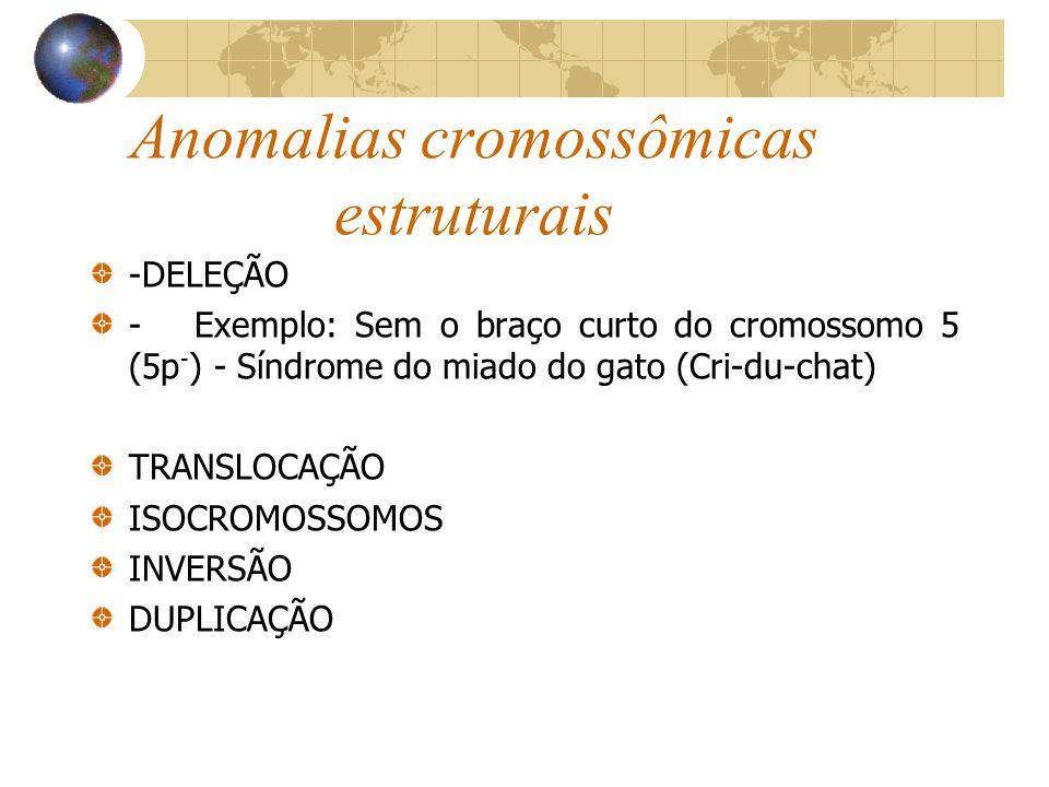 Anomalias cromossômicas estruturais -DELEÇÃO -Exemplo: Sem o braço curto do cromossomo 5 (5p - ) - Síndrome do miado do gato (Cri-du-chat) TRANSLOCAÇÃ