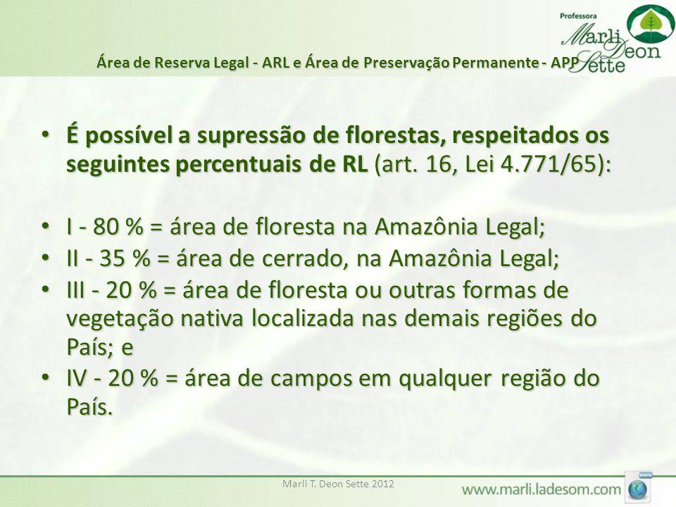 Marli T. Deon Sette 2012 Área de Reserva Legal - ARL e Área de Preservação Permanente - APP É possível a supressão de florestas, respeitados os seguin