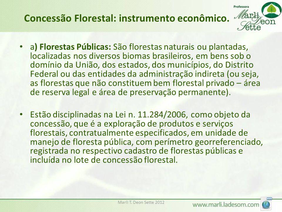 Marli T. Deon Sette 2012 Concessão Florestal: instrumento econômico. a) Florestas Públicas: São florestas naturais ou plantadas, localizadas nos diver