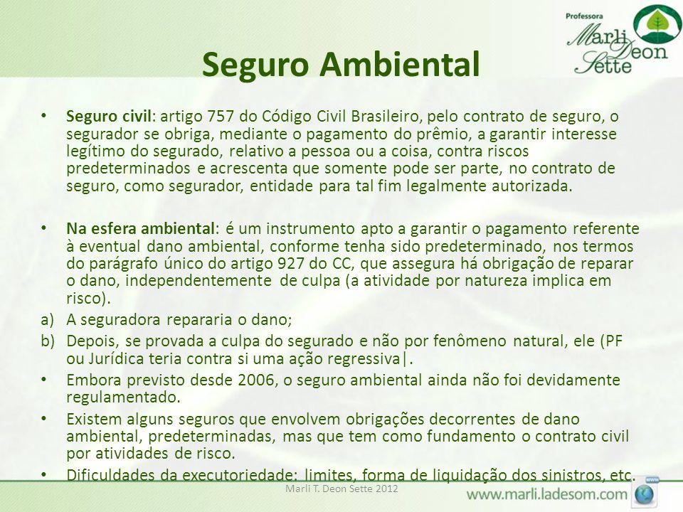 Seguro Ambiental Seguro civil: artigo 757 do Código Civil Brasileiro, pelo contrato de seguro, o segurador se obriga, mediante o pagamento do prêmio,
