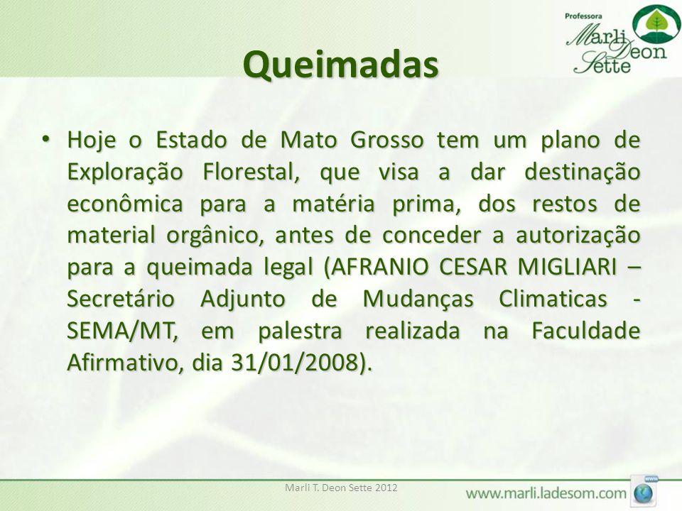 Marli T. Deon Sette 2012 Queimadas Hoje o Estado de Mato Grosso tem um plano de Exploração Florestal, que visa a dar destinação econômica para a matér