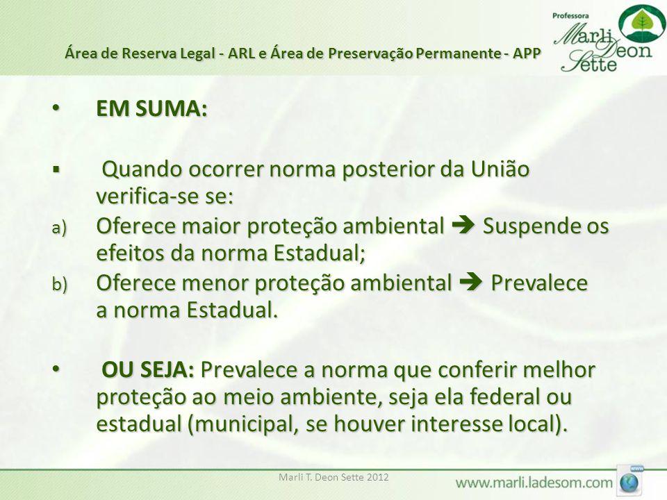 Marli T. Deon Sette 2012 EM SUMA: EM SUMA:  Quando ocorrer norma posterior da União verifica-se se: a) Oferece maior proteção ambiental  Suspende os