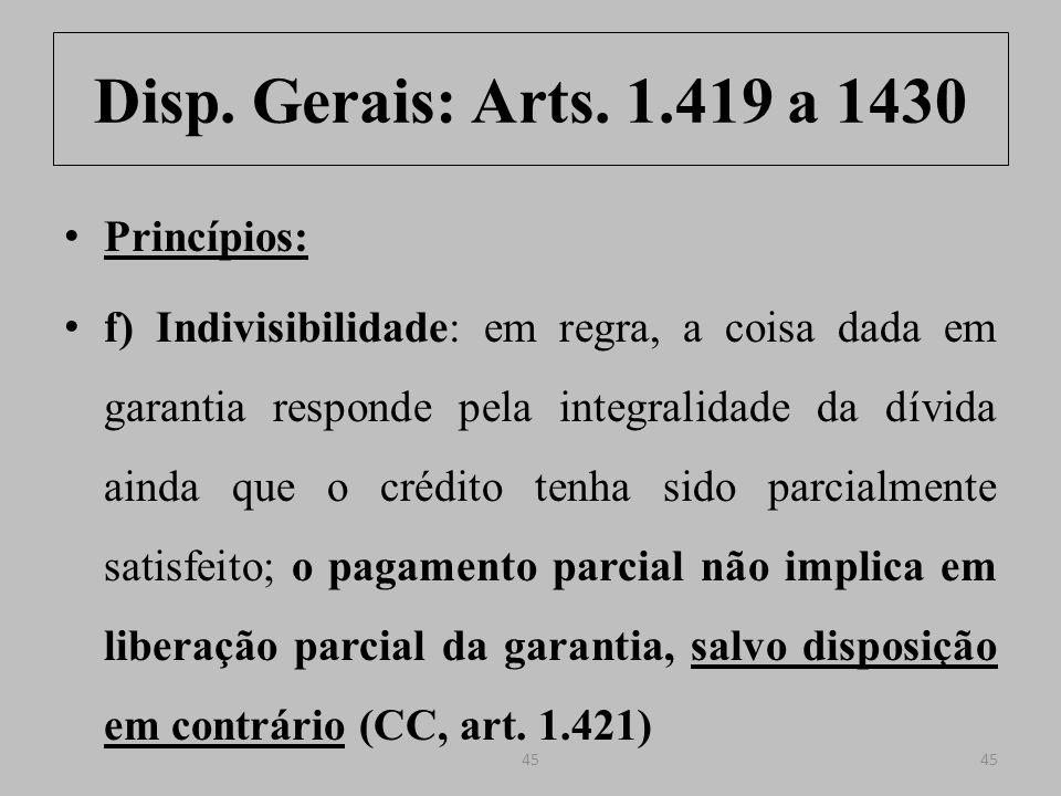 Disp.Gerais: Arts. 1.419 a 1430 Art. 1.421.